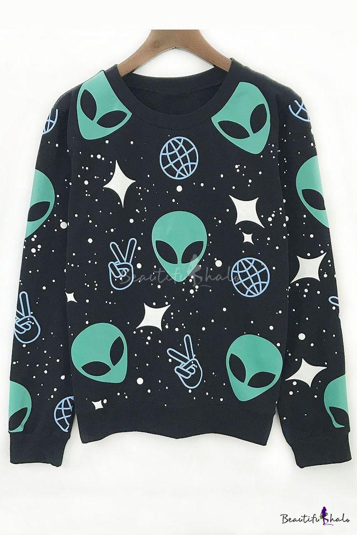 Fashion Alien Print Long Sleeve Round Neck Oversize Sweatshirt