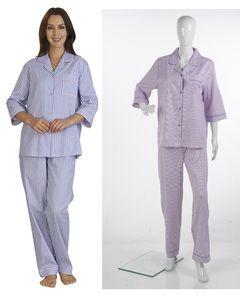 Ladies Slenderella Striped 100% Cotton Pyjamas UK 10-22 (Blue or Pink)