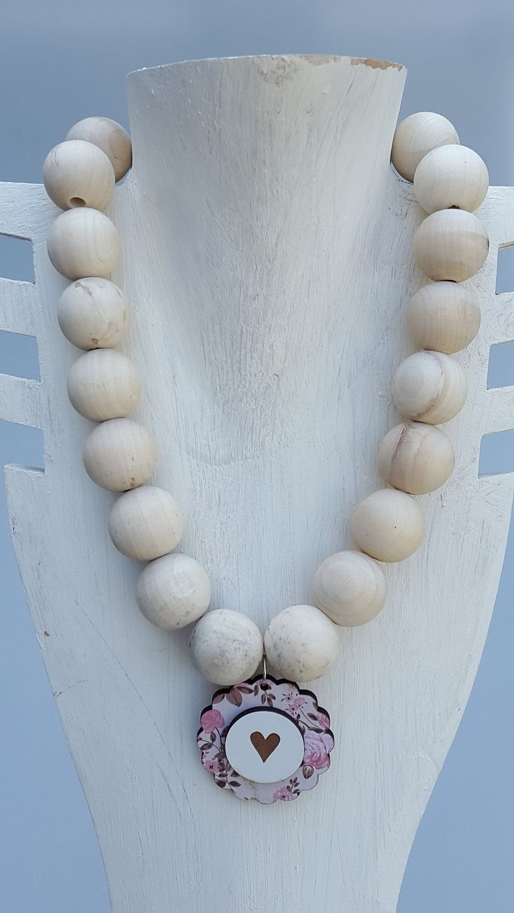 White Wooden Necklace