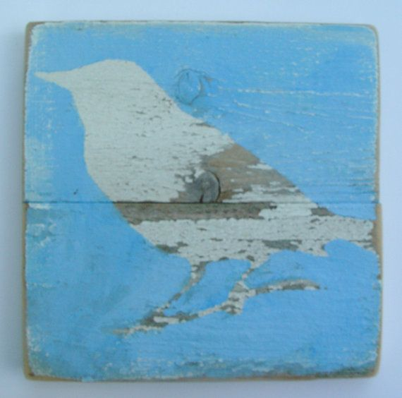 Shabby chic wall art Robin on Reclaimed Picket by ACleverSpark, $28.00