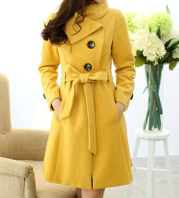 Yellow Wool Coats Coat Nj