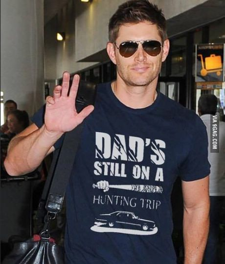 Dean Winchester, you funny son of a b****. Who get the caption on the shirt ?