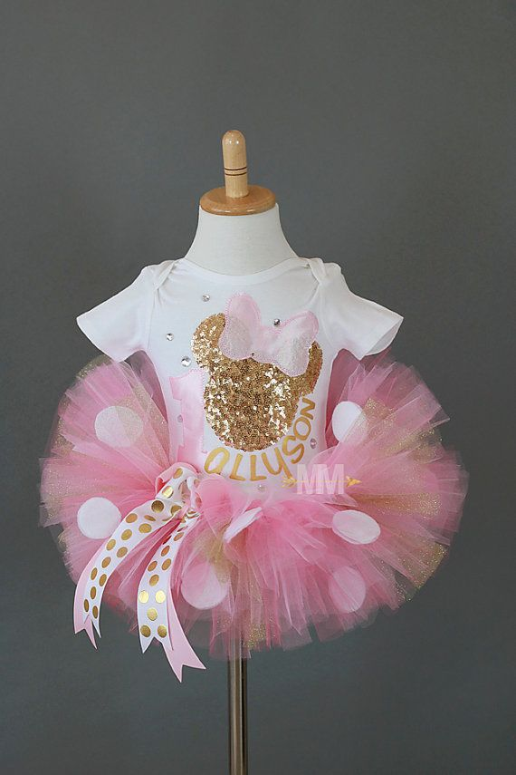 Minnie Mouse pink and gold tutu outfit Tutu by MiaMonroeBoutique