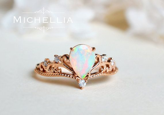 Vintage Pear Crown Ring in Opal, Ethiopian Fire Opal Pear Engagement Ring or Ring Set, Available in 14K Gold, 18K Gold, or Platinum, R1004 – Inut H