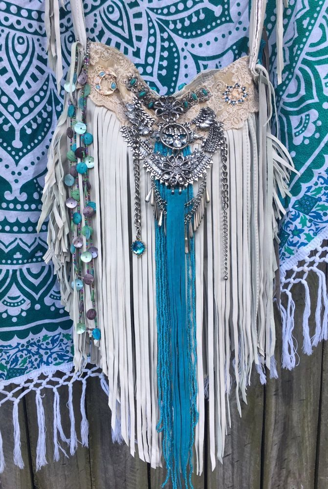 Handmade Off White & Turquoise Leather Long Fringe Bag Hippie Boho Purse B.Joy  | eBay
