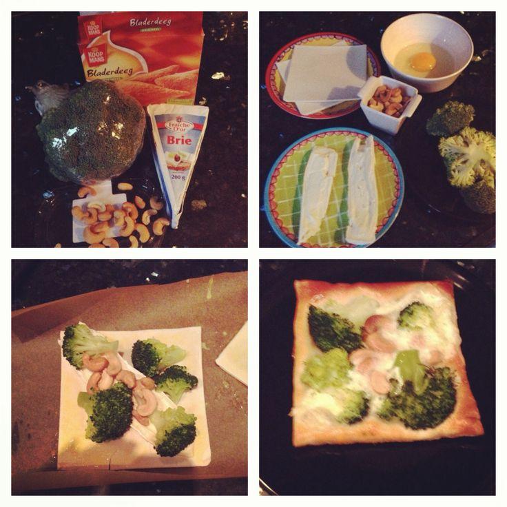 Bladerdeeg lekker(s)  Let op 2 plakjes bladerdeeg = 1x koolhydraat  Enjoy   Recept van Brenda Kookt:  Men neme:  Bladerdeeg, Broccoli, Brie, Ei en een handje Cashewnoten