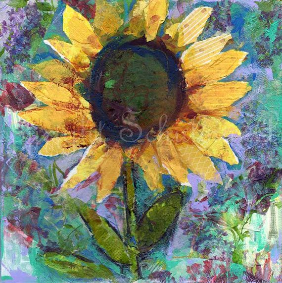 Sunflower ART ORIGINAL mixed media painting on by SchulmanArts, $126.00