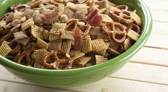 Bacon Chex Mix (Recipe calls for melted butter AND bacon drippings poured over cereal!!)
