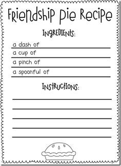 """Friendship writing activity to go with the book """"Enemy Pie"""""""