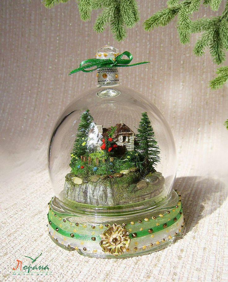 """Купить Миниатюрная композиция """"Домик на скале"""" - подарки и сувениры, подарки на новый год, полимерная глина"""