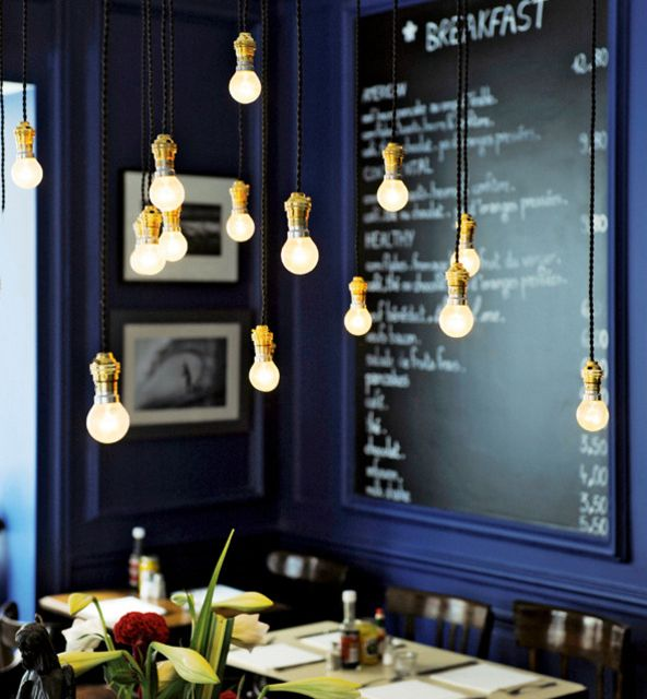I love this so much. The lights, the colors, the chalkboard.  denofopulence:    H.A.N.D. Restaurant in Paris.: Dining Rooms, Wall Colors, Ideas, Chalkboards, Hanging Lights, Blue Wall, Cafe, Bulbs, Restaurant