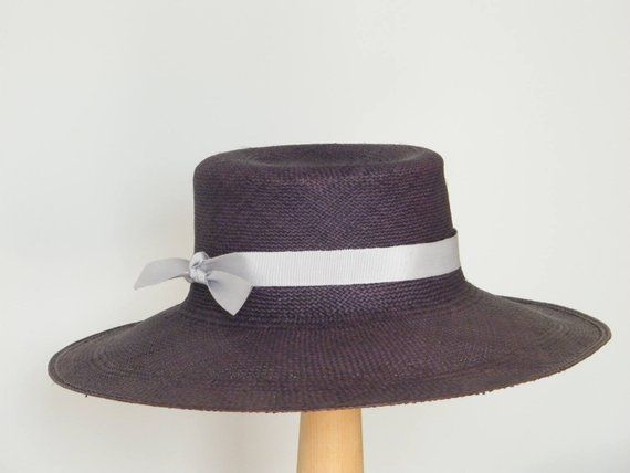 5f821f853d34f1 Navy straw hat for Women / wide brim Panama hat/ elegant sun hat / navy  summer hat/ sun protection hat /ladies beach hat UK