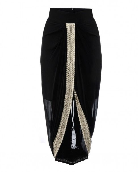 Black Draped Dhoti Skirt