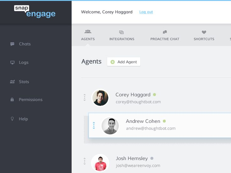 Settings dashboard by Corey Haggard for thoughtbot