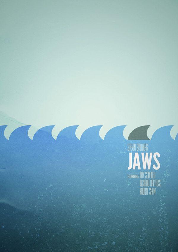 Posters minimalistas de filmes por Sam Markiewicz - Jaws - Tubarão 1
