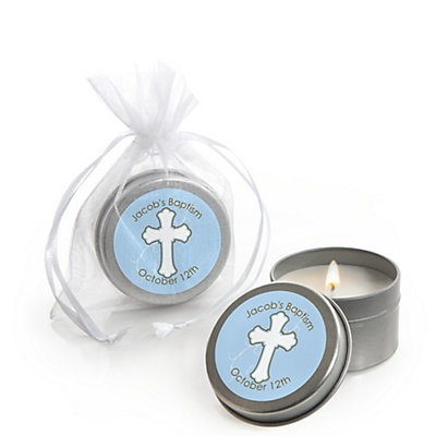 Little Miracle Boy Blue & Brown Cross - Personalized Baptism Candle Tin Favors | BigDotOfHappiness.com