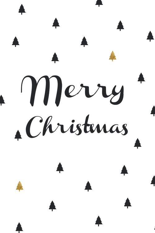 Merry christmas card - black and gold: