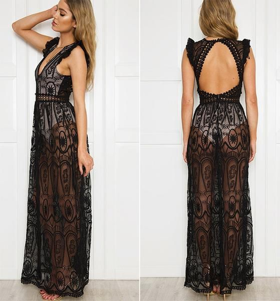 Maxi Long  Black Lace Dress 2017 fashion trends and ideas you can copy in uk, canada, usa