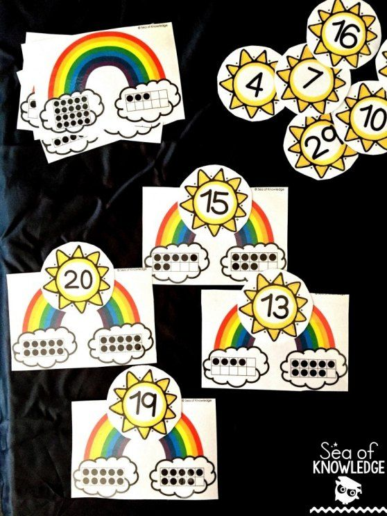 March Seasonal Free Download. Counting ten frames with rainbows and the sun!