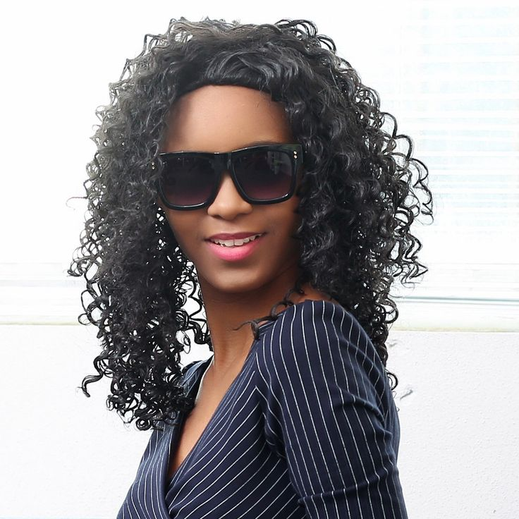 Medium Length Synthetic African Wavy Hair Black Curly Wig High-Temperature Women