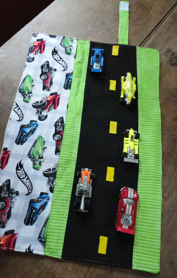 Hot Wheels Car Caddy Roll up Tote with Road. $19.00, via Etsy.