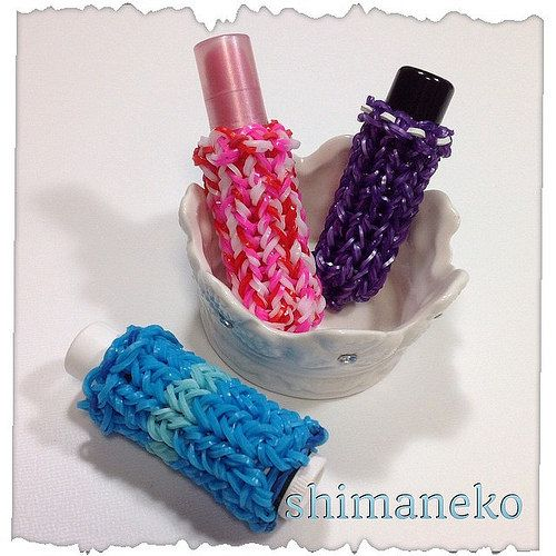 シャチハタ印鑑カバーとリップカバー  #rainbowloomer #loombands #rubberband #rainbowloom #monstertail #funloom  #rainbowloombracelet #loombraceket  #loombandbracelet #ファンルーム #レインボールーム #モンスターテイル