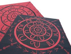"""** NEW ** Aboriginal - Yarning Circle mat 2.7mx2.7m Outback Red/Black  Our Indigenous designer De Greer Yindimincarlie named this design on our behalf """"The Yarning Circle"""". This mat is designed using Indigenous symbols. The symbols were and are used as a form of communication, a way to tell a story, instruction or direction."""