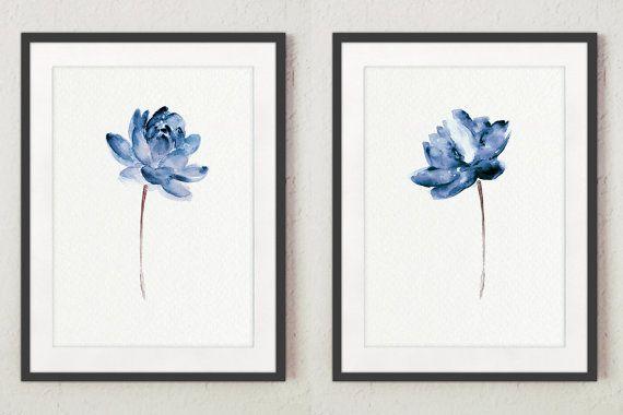 Lotus-Satz von 2 Aquarell-Geschenkidee. Blue Water Blumen Kunst Druck Home Dekoration. Moderne florale Illustration Wall Decor. Abstrakt blumen Poster. Preis ist für den Satz von zwei verschiedenen Lotus Flower Art Prints, wie auf dem ersten Foto dargestellt.  Art von Papier: Drucke bis zu (42 x 29, 7cm), 11 X 16 Zoll Größe auf Archivierung Säure frei 270g/m2 weiß Aquarell Fine Artpapier gedruckt und behält das Aussehen des original-Gemälde. Größere Drucke werden auf 200 g/m2 weiß S...