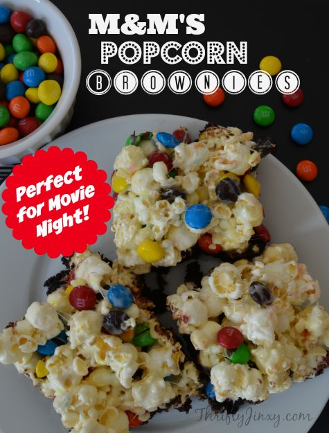 M&M'S Popcorn Brownies Recipe for Movie Night with The #Oscars #Ad  - Thrifty Jinxy