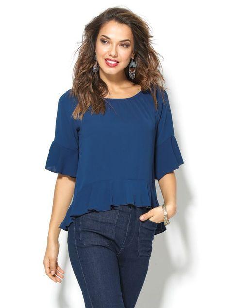 Blusa mujer manga 3/4 con volantes azul