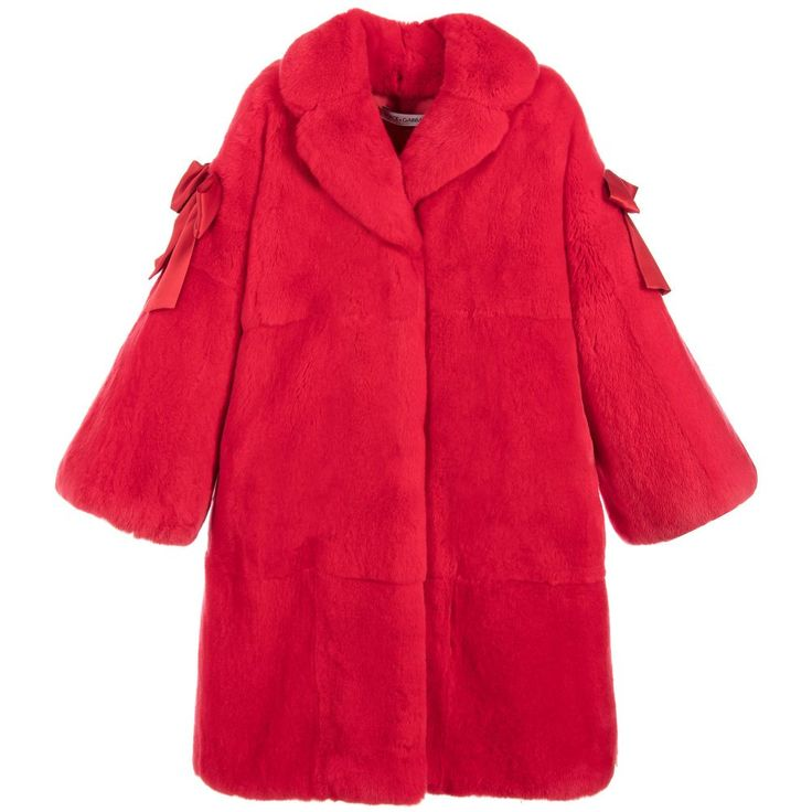 Girls Luxury Red Fur Coat for Girl by Dolce & Gabbana. Discover more beautiful designer Coats & Jackets for kids online at Childrensalon.co.