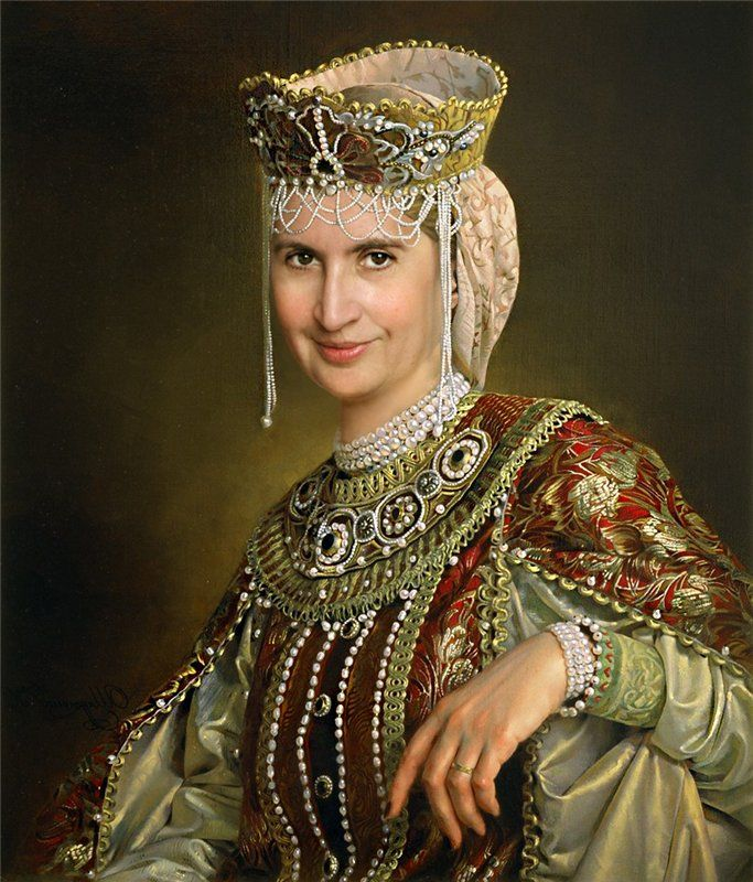 Modern recreation of a medieval Russian boyarina