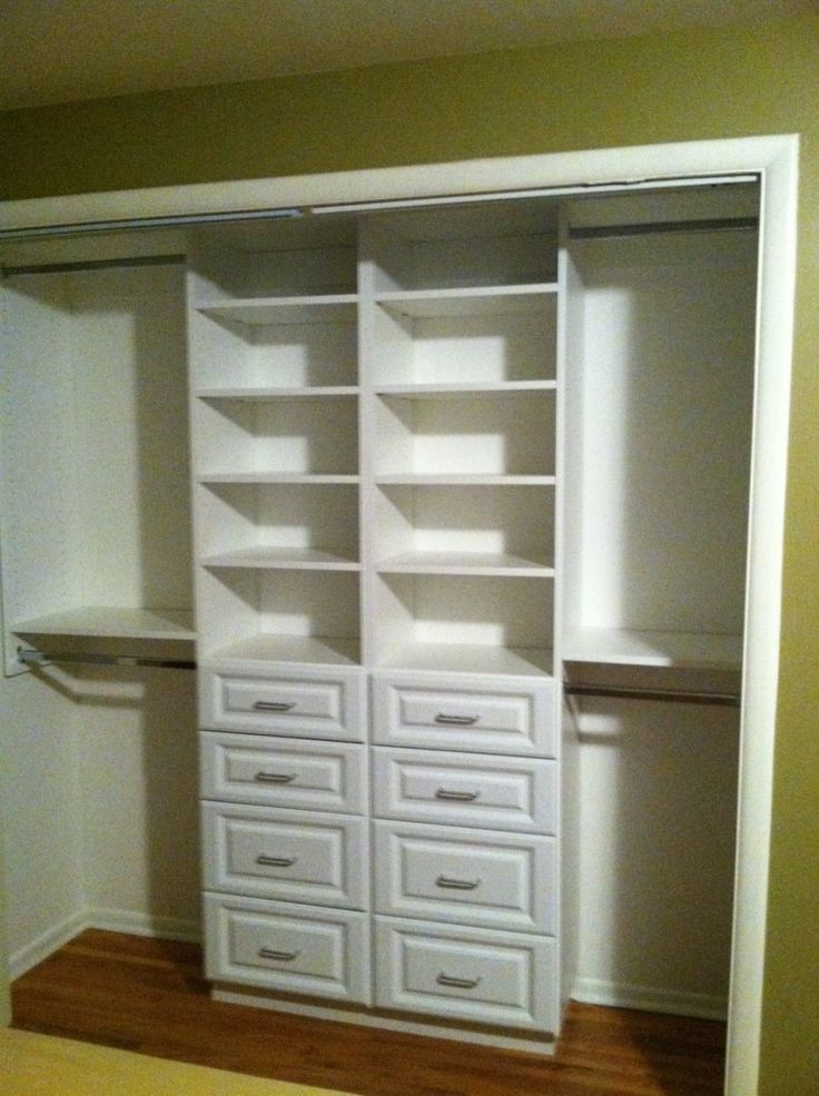 compact white small closet design with drawer and shelving storage