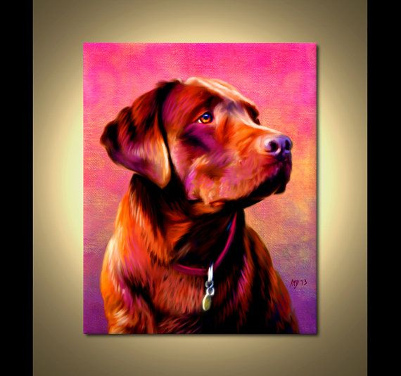 Chocolate Labrador Portrait | Custom Chocolate Labrador Portrait | Chocolate Painting From Your Photos | Chocolate Lab Art by Iain McDonald