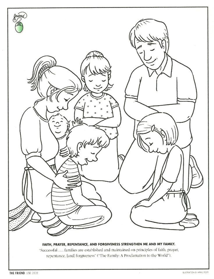 Dibujo para colorear. Familia orando. #Catequesis. www.evangelizacioncatolica.com