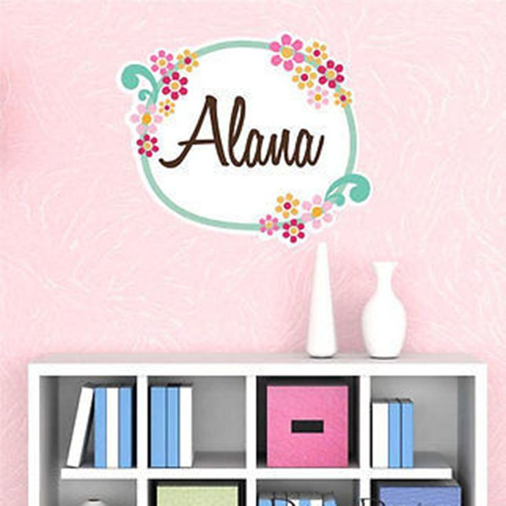 Unique Flower Boom Custom Name Printed Fabric Repositionable Wall Decal Sticker