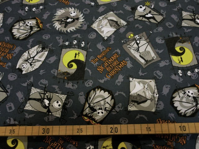 Nightmare Before Christmas fabric gray color FQ Disney anime printed ...