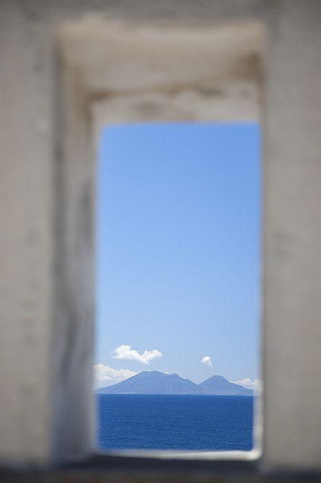 View of Salina Island from Ginostra, Stromboli Island, Asolian Islands_ Italy