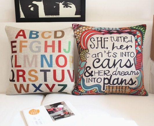 ABCD Letters Cushion Case Set/Soft Cotton Linen Pillow Case/Neutral Background Pillow Case/Lumbar pillow Case/Housewarming Gift on Etsy, $18.00