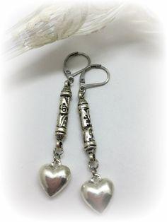 Pewter Heart Beaded Dangle Earrings #685E