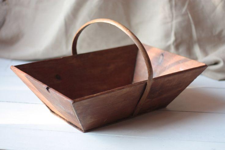 Vintage French Wooden Trug, Fruit Basket or Flower Basket by FarmGateVintage on Etsy