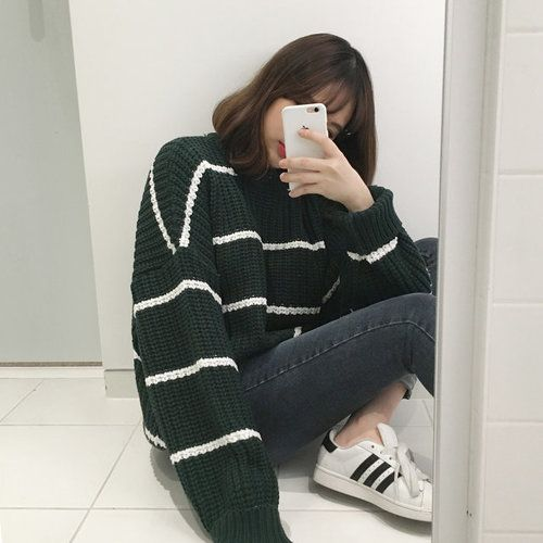 Kfashion, oversized green with white stripe sweater, with washed out colored jeans, and adidas all stars /follow my Pinterest at: Saraiexquisite