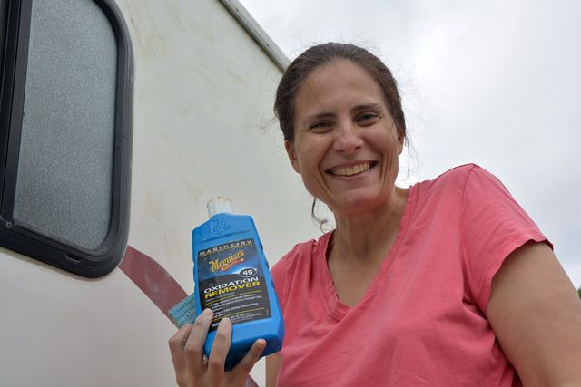 Using Meguiars oxidation remover helped get rid of the yellowish tint to our 11 year old camper.  It's bright white now! http://www.truckcampermagazine.com/camper-tech/how-to-inspect-and-repair-camper-seals