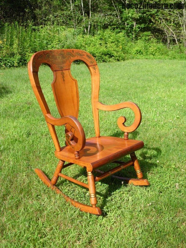 Vintage Tell City Maple Balloon Back Farmhouse Rocking Chair Stenciled Rocker #Country #TellCity