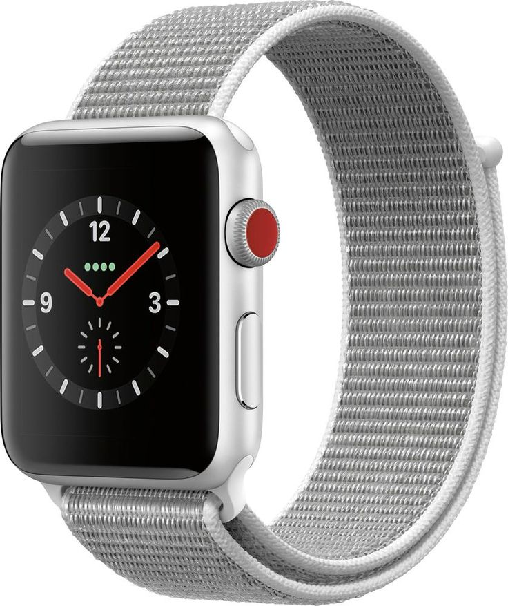 Apple – Apple Watch Series 3 (GPS + Cellular) 42mm Silver Aluminum Case with Seashell Sport Loop – Silver Aluminum (Verizon)