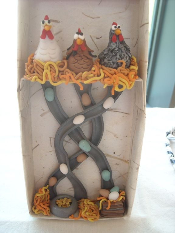 polymer clay chickens |