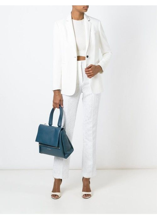 Petrol blue calf leather small 'Pandora Pure' tote from Givenchy featuring a foldover top with magnetic closure, a top handle, a detachable and adjustable shoulder strap, silver-tone hardware, a front zip pocket, a front logo plaque, a cotton lining and an internal zipped pocket.