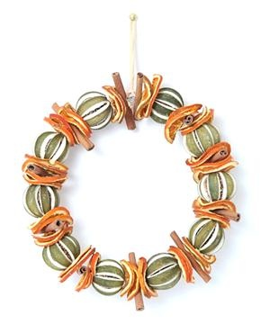 Green Orange & Cinnamon Dried Fruit Wreath
