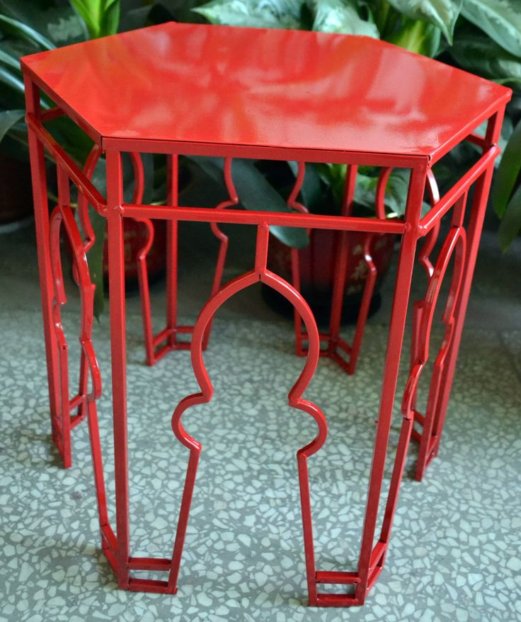 Red Citadel Side Table - inspired by Middle Eastern design | #red | #citadel | #sidetable | #middleeasternstyle | #design | #philbee