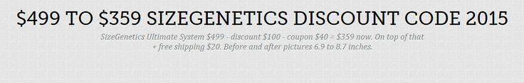 $499 to $359 SizeGenetics Discount Code 2015